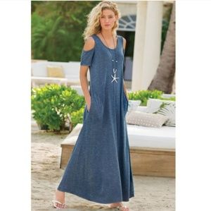 Soft Surroundings Cold Shoulder Electra Maxi Dress